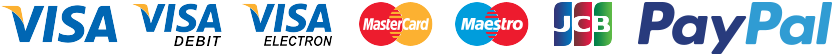 Visa Credit, Visa Debit, Visa Electron, MasterCard Credit, MasterCard Debit, Maestro, JCB, Payments powered by PayPal