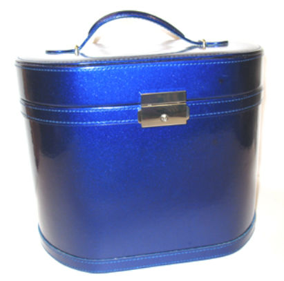 vanity case blue glitter finish 10 X 8 X 8 inches