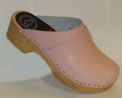 clogs wood sole  pink upper half price on sale