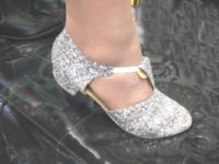 Greek style dance shoes silver glitter