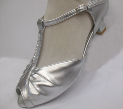 Silver upper dance shoes e-fitting