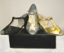 dance shoes x 3 blk silm gold