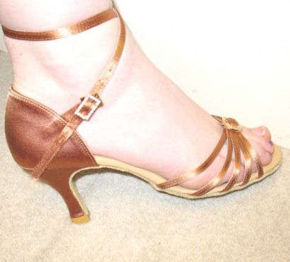 Ladies dance shoes light bronze upper