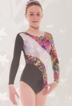 Gymnastic leotard black silver